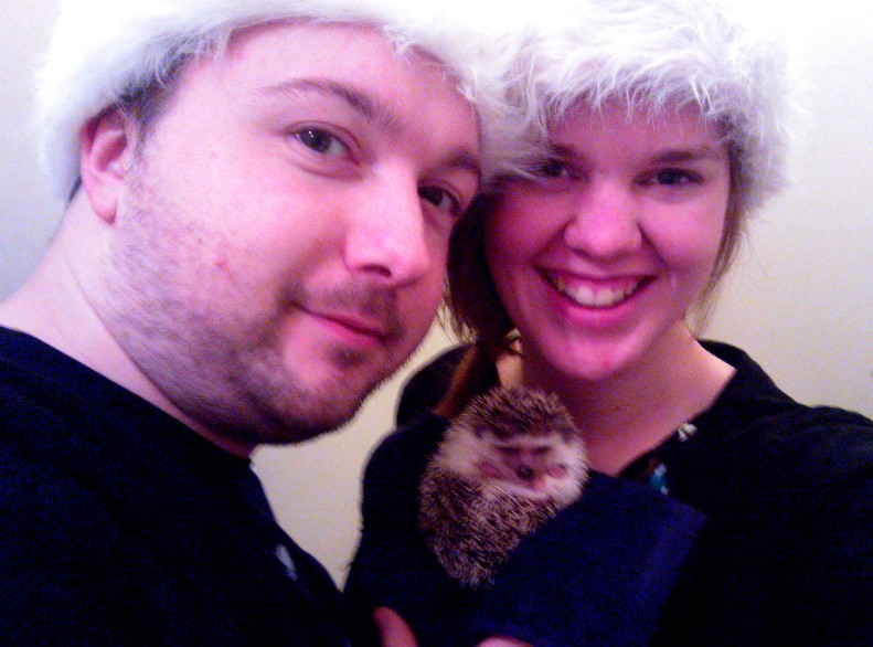 us in our santa hats. merry Christmas!